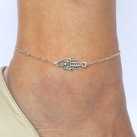 Hamsa Anklet, Kabbalah Anklet, SIlver Hamsa Anklet, Hamsa Charm Ankle Bracelet, Gift for girlfriend, Foot jewelry, Silver Charm Anklet