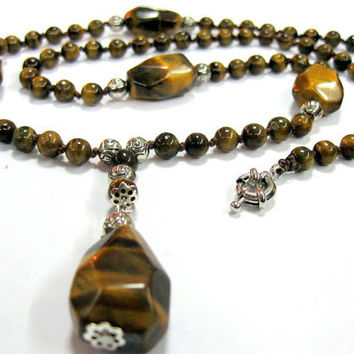 Tiger Eye Pendant Necklace, OOAK Gemstone Jewelry, Long Brown Necklace, For Luck and protection