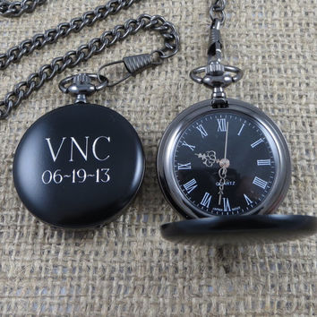 Black Personalized Pocket Watch -Engraved - Groomsman Gifts - Gifts for Men (938)