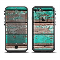 The Chipped Teal Paint On Wood Apple iPhone 6 LifeProof Fre Case Skin Set