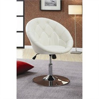 Button Tufted Swivel Contemporary Chair in White - Coaster 102583