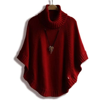 Fall Winter Women Turtleneck Poncho Sweater Korean Fashion Plus Size Loose Batwing Sweater Ladies Knitted Ponchos and Capes Coat