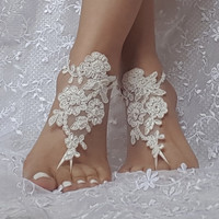 beaded barefoot sandals, ivory bridal lace sandals, barefoot sandal, beach accessories, lace anklets, beach party, bellydance