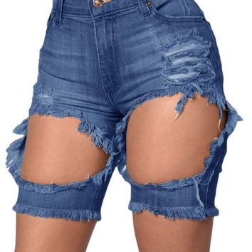 CREY78W Denim Trousers 2016 Summer Ladies Adult Tint Blue Destroyed Cutoff Bermuda Shorts Jeans Feminino Cintura Alta LC78657