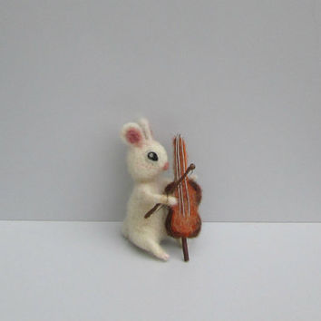 Cute bunny playing cello Felted Miniature White bunny Sweet hare Tiny figurine Mini animal Felted rabbit Mini animals Dollhouse animal