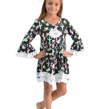 Lace Trim Kids Cactus Dress