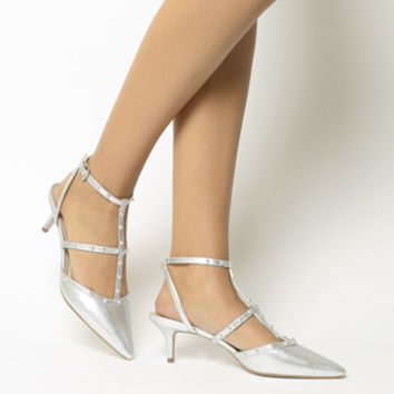 Office Manner Studded Point Kitten Heels Silver Leather - Mid Heels