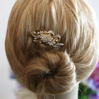Bridal Wedding Hair Comb, Gold Hair Comb, Handmade Bridal Hair Accessories, Hair Comb, Vintage style, Wedding, Hair Comb, Bridal Comb