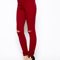 ASOS High Waisted Skinny Trousers with Ripped Knee