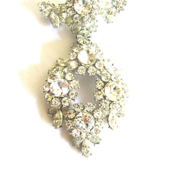 Large Clear Rhinestone Brooch Trifari 1950s