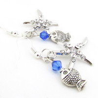 Dangle Starfish Earrings, Starfish and Blue Crystal Earrings, Beach Jewelry, Fish Earrings, Sea Life Earrings