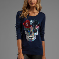 Markus Lupfer Flower Skull Sequin Sweater in Navy from REVOLVEclothing.com