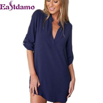 2017 Womens Chiffon Sexy V Neck T-Shirt Nightgowns Plus Size Long Sleeve Slik Sexy Nightie Sleepwear Dress Sexy Nightdress XL