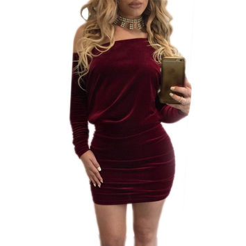 Sexy Off Shoulder Wine Red Velvet Dress 2017 Spring Women Long Sleeve Dress Party Club Wear Bodycon Short Dress Vestidos