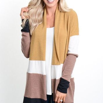 Mustard Color Block Long Cardigan