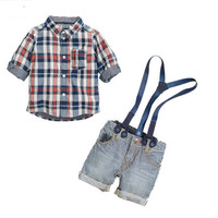 Boys Sling Strap Denim Suit Boy Shirt + Strap Jean 2-piece