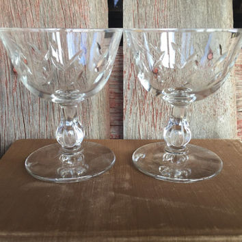 2 vintage glassware, low champagne / martini glasses, Mid century dessert glasses, vintage bar cart glasses, vintage wedding toasting glass