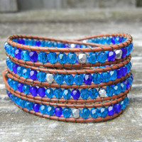 Beaded Leather Wrap Bracelet 4 or 5 Wrap with Turquoise Toned Czech Glass Beads Ocean Beach Bracelet