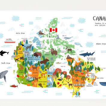 Map of Canada for Kids Poster | Unique Baby Gift | Playroom Art | Nursery Decor | Classroom Decor