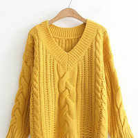 V Neckline Drop Shoulder Cable Knit Sweater -SheIn(Sheinside)