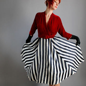 1950s Deep Red Velvet Black White Stripe Party Dress. Holiday Party. Cocktail Party. Mad Men. Winter Wedding