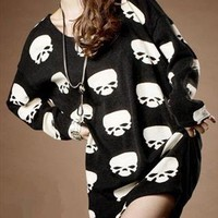 Oversize Skull Print T-shirt for Women from topsales