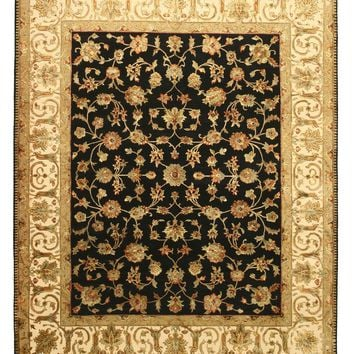 EORC Hand-knotted Wool & Silk Black Traditional Oriental Flower Jaipur Rug