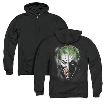 Batman Full Zip Hoodie Joker Face Makeup Black Hoody Back Print