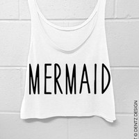 Mermaid -  Crop Tank Top - White