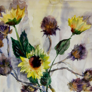 Sunflowers,Original Watercolor Painting, Flowers Painting, Watercolour Art, Floral