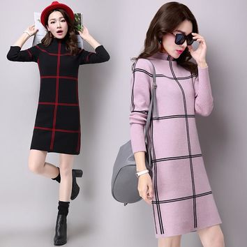 2017 Autumn Winter Sweater dress women Slim Plaid Pattern Dress Elegant Knitted Long Sleeve Bodycon Office Dresses Vestidos