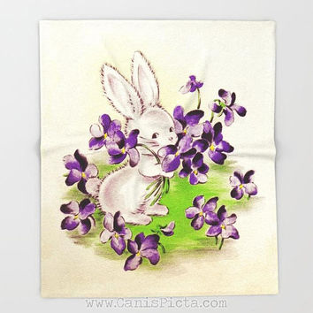 Vintage Easter Card Design Bunny Blanket Unique Throw Home Decor Decorative Gift Purple Room Bed Baby Rabbit Pastel Whimsical Lilac Flower