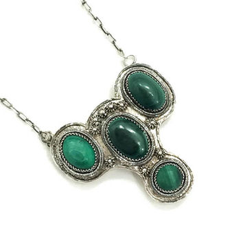 Chinese Sterling & Malachite Necklace, Silver Green Pendant Necklace, Silver Cannetille, Chinese Chop Mark, Antique Jewelry