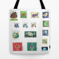 Vintage Gemstone and Minerals Postage Stamps Tote Bag by Blue Specs Studio