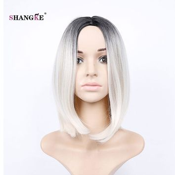 SHANGKE Hair 14'' Short Bob Wig White Ombre Synthetic Wigs For Black Women Heat Resistant Females Hair Wig