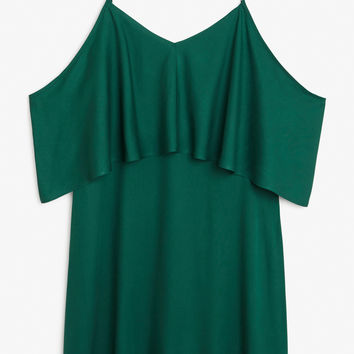 Monki | View all new | Cold shoulder ruffle dress