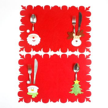 Christmas Xmas New Year Santa Claus Silverware Holders Fork Knife Table Mats Cover Dinner Decor Christmas Decorations for Home