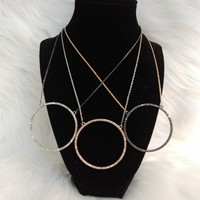 Circle Sparkle Necklace with Matching Drop Circle Earrings