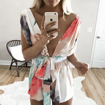TROPICAL RETREAT MULTI WAY TIE ROMPER - WHITE + MULTI