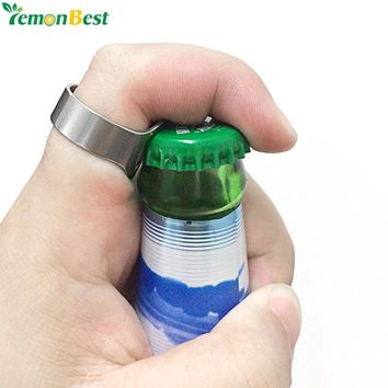 LemonBest 20mm 22mm Unique Creative Versatile Stainless Steel Finger Ring Ring-Shape Beer Bottle Opener