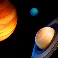 Three Planets in Space Wall Mural