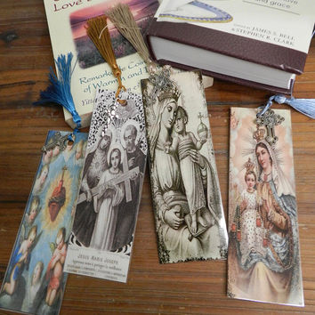 Handmade Religious Bookmarks Laminated Virgin Mary Set Christian Bible Gift