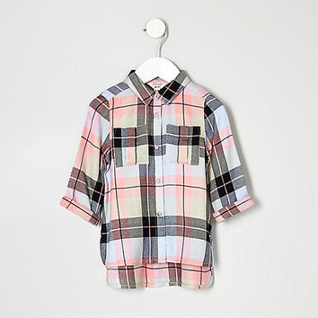 Mini girls pink check embroidered shirt - baby girls tops - mini girls - girls
