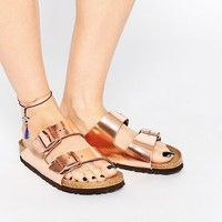 Birkenstock Arizona Metallic Copper Narrow Fit Flat Sandals at asos.com