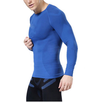 Men Long Sleeve Exercise T Shirt Men Thermal Muscle Bodybuilding Compression Tights Shirt FREE SHIPPING!