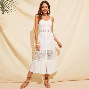Lace Insert Bow Tie Back Cami Dress Women High Waist Boho Sleeveless Spaghetti Strap Dresses