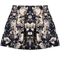 Sheinside Black Florals Pattern Elastic Waist Skirt (one-size, Black)