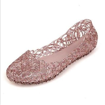 Womens Summer Jelly Ballet Flat Shoes