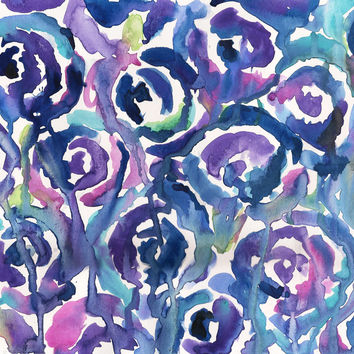 Blue Roses Watercolor Painting