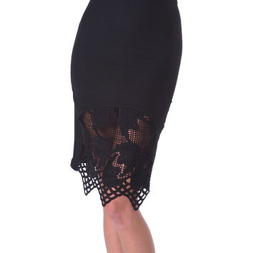 Belle Lace Pencil Skirt - Black